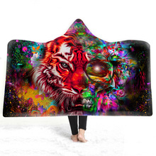 Modern Fashion Hooded Blanket Watercolor Tiger 3D Printed Art Plush Sherpa Fleece Hoodie For Adults Childs Throw