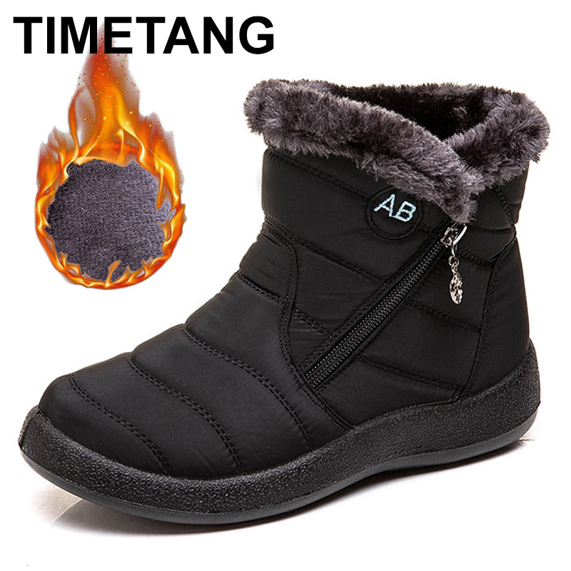 TIMETANG Women's ankle boots fur boots warm snow boots winter shoes for women waterproof padded boots winter boots womenfootwear