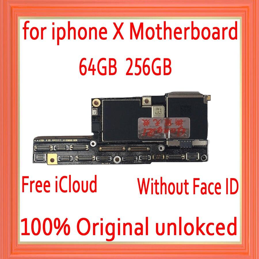 Fábrica desbloqueado para iphone x placa-mãe sem rosto id, livre icloud para iphone x mainboard com sistema ios placa lógica