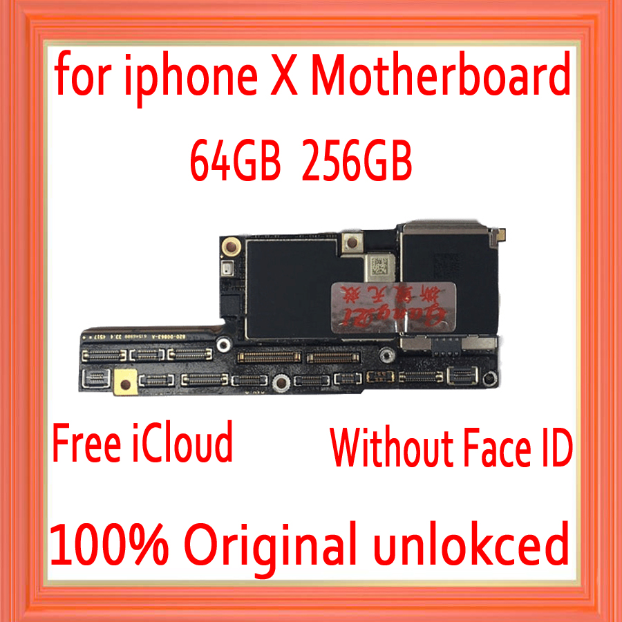 Sale  Factory unlocked for iphone X motherboard without Face IDFree iCloud for iphone x Mainboard with IO