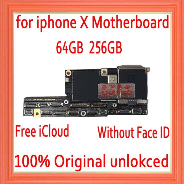 Usine déverrouillée pour iphone X carte mère avec sans identification de visage, gratuit iCloud pour iphone x carte mère avec carte mère système IOS