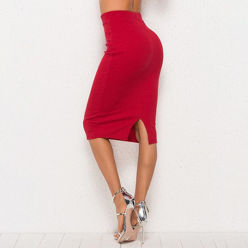 2019 Spring New Fashion High Waist Elegant Solid Pencil Skirts Sheath Wine Red Midi Skirt Streetwear Women Casual Basics Skirts