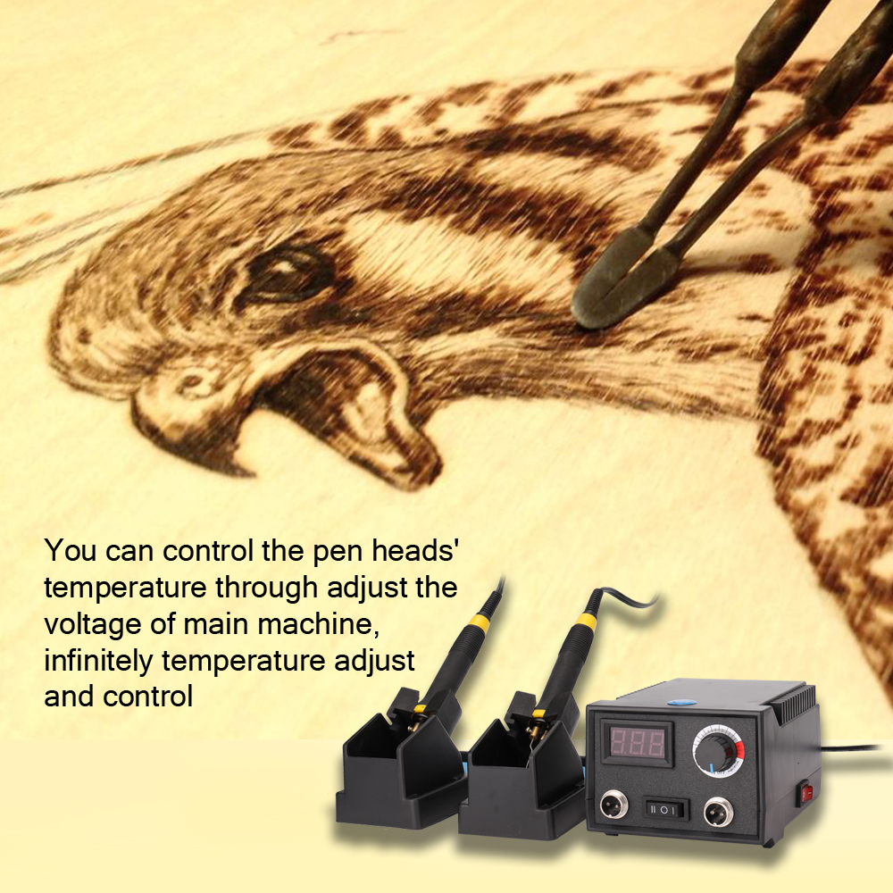 Hot Multifunctional Digital Electric Gourd Wooden Pyrography Machine Instrument With 2pcs Pens 23pcs Heating Pen Heads