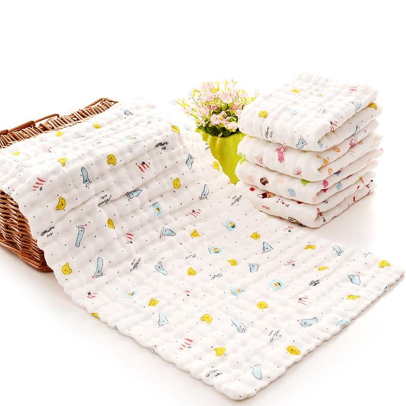 Купить с кэшбэком 25*45cm 100% Gauze Cotton Baby Handkerchief Square Towel Muslin Cotton Infant Face Towel Wipe Cloth Appease Towel 2020