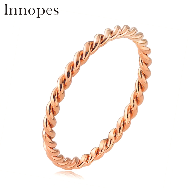 Innopes Woman Fashion Small Ring Silver Rose Gold Color Twisted Stainless Steel Ring for Women Wedding Party Ring