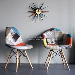 Nordic Ins stylowe tkaniny szwy krzesło do jadalni wypoczynek z powrotem krzesło do pracy na komputerze Sofa domu z litego drewna fotel bujany krzesło barowe -