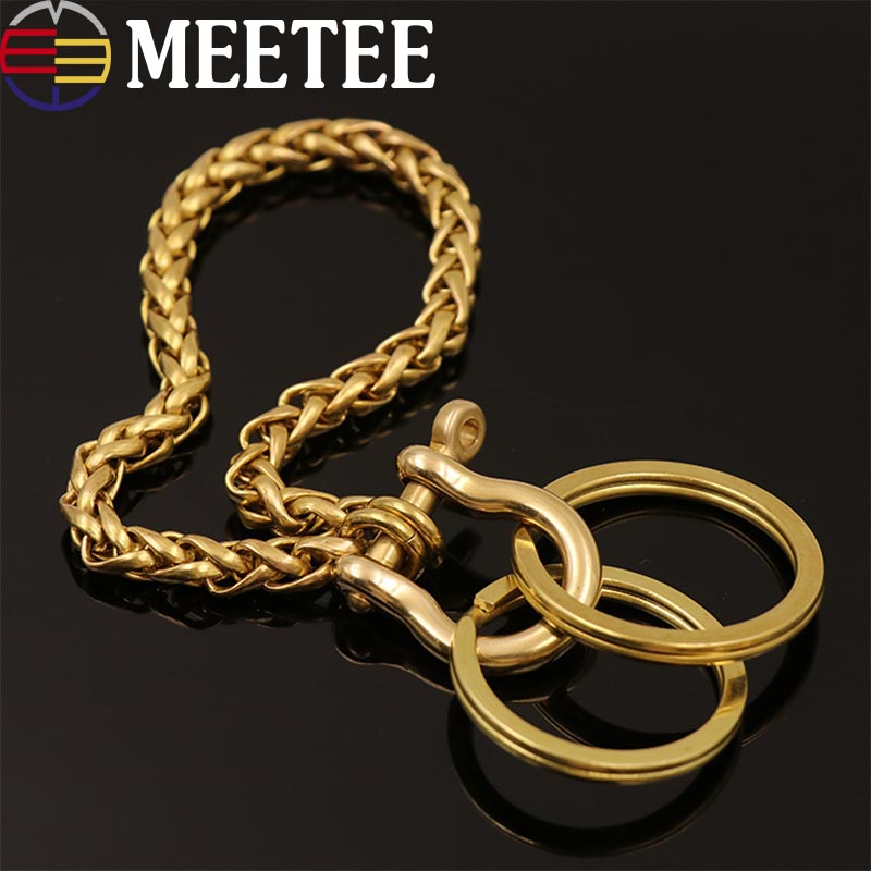 6mm Fashion Solid Brass D Shackle O Ring Wallet Chain Men Trousers Belt Decor Keychain Metal Buckle Snap Hook DIY Craft