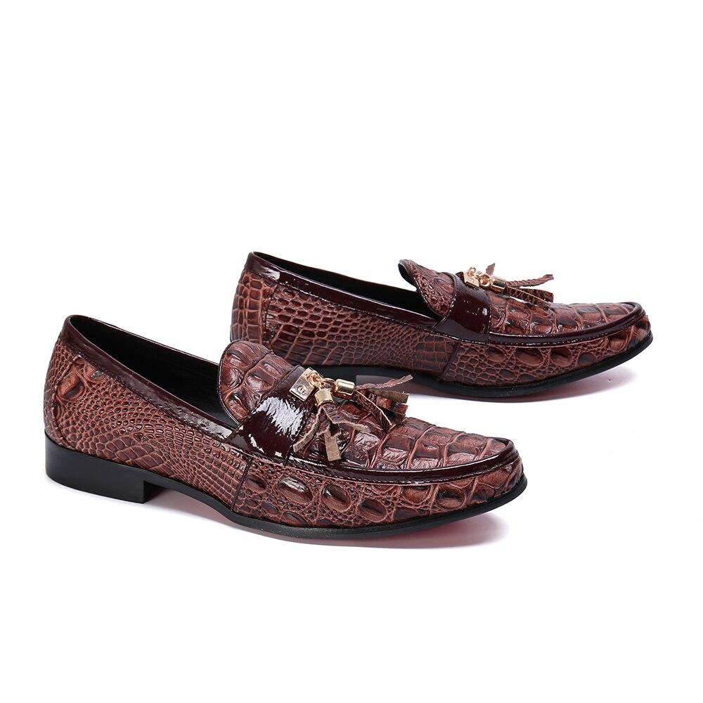 Zapatos casuales para hombre moda marrón borla hombres mocasines marca de lujo hombres zapatos de negocios Slip On zapatos de boda - 2