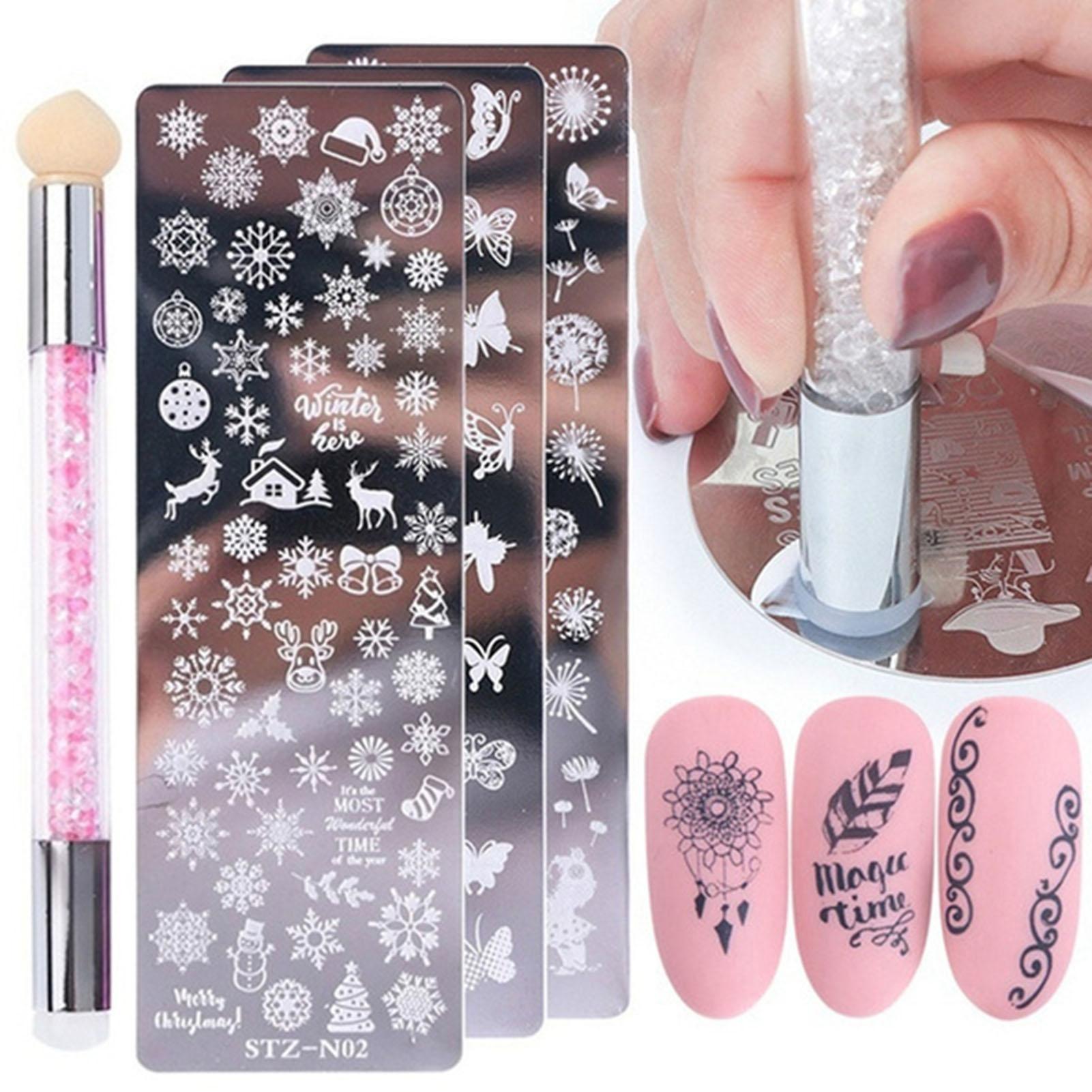 Duplo-face cabeça stamper pintura de polimento desenho manicure unha arte caneta ferramenta placa de carimbo de arte do prego diy kits de selo de unhas
