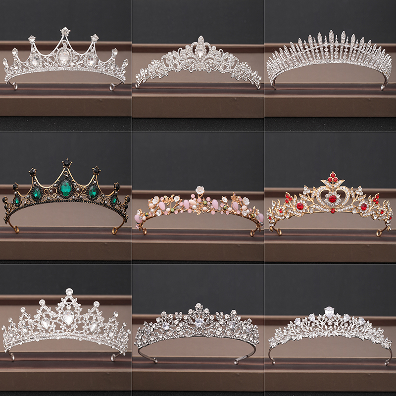 Party Crowns Tiaras Hair-Accessories Bridal-Headpiece Rhinestones Crystal Bride Baroque