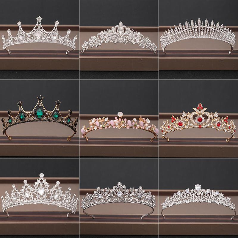 Tiaras Hair-Accessories Crowns Bridal-Headpiece Rhinestones Crystal Bride Wedding Baroque