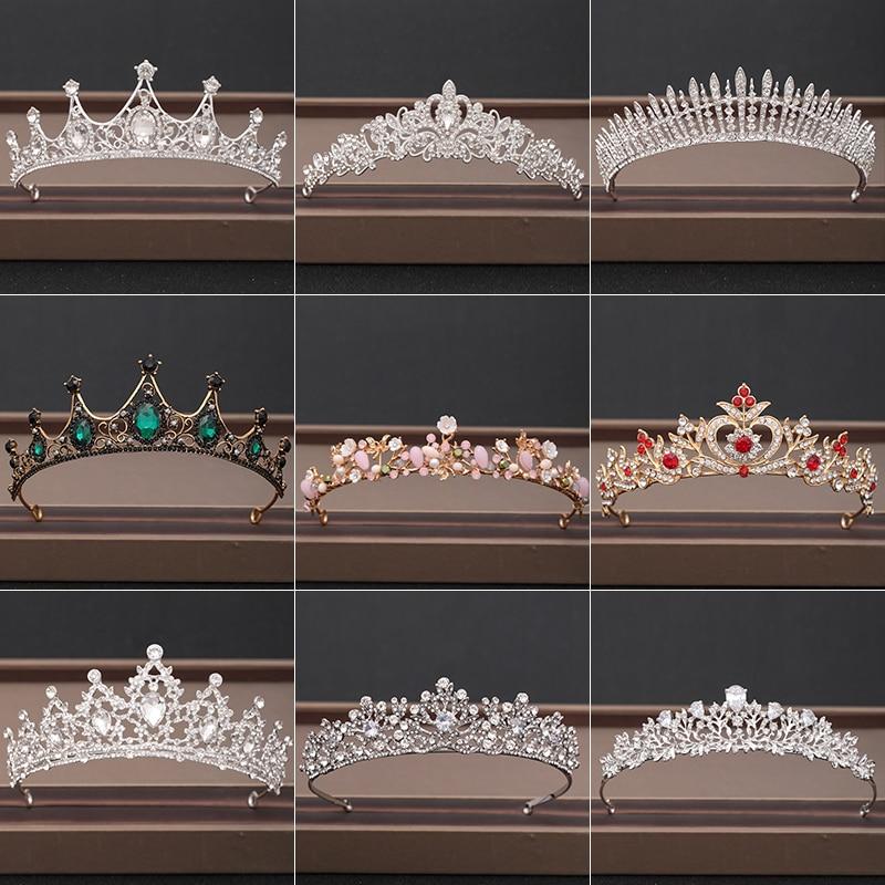 Свадебная Корона, украшения для волос, свадебный головной убор, женские Стразы в стиле барокко, хрустальные тиары, Свадебные вечерние корон...