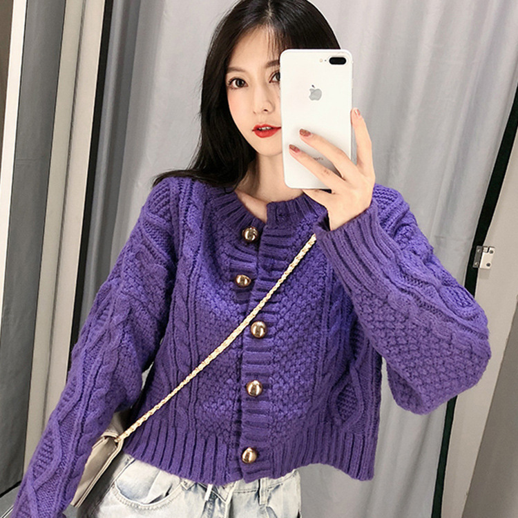 US $22.9 40% OFF|Jvcake 2020 Fashion Women's Cardigans Autumn Winter Knit Sweater Long Sleeve Beige Purple Sweater Beige White Women's