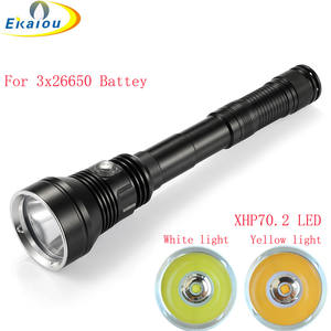 Waterproof Torch Dive-Lamp Diving-Flashlight Underwater-150m Yellow/white-Light Xhp70.2 Led