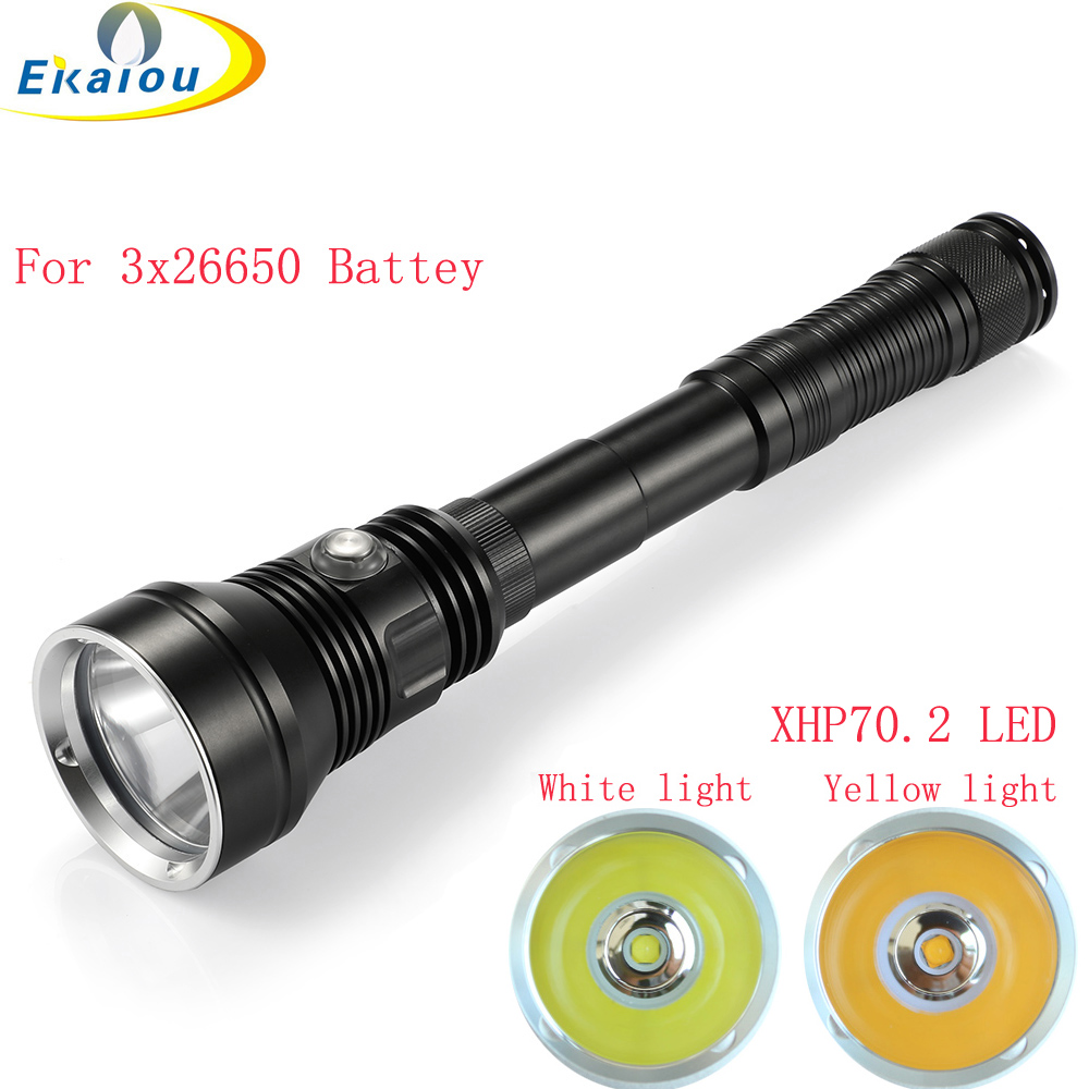 new 6000 lumen XHP70 2 LED Yellow White light Diving Flashlight Professional Underwater 150M Waterproof Torch Outdoor Dive lamp