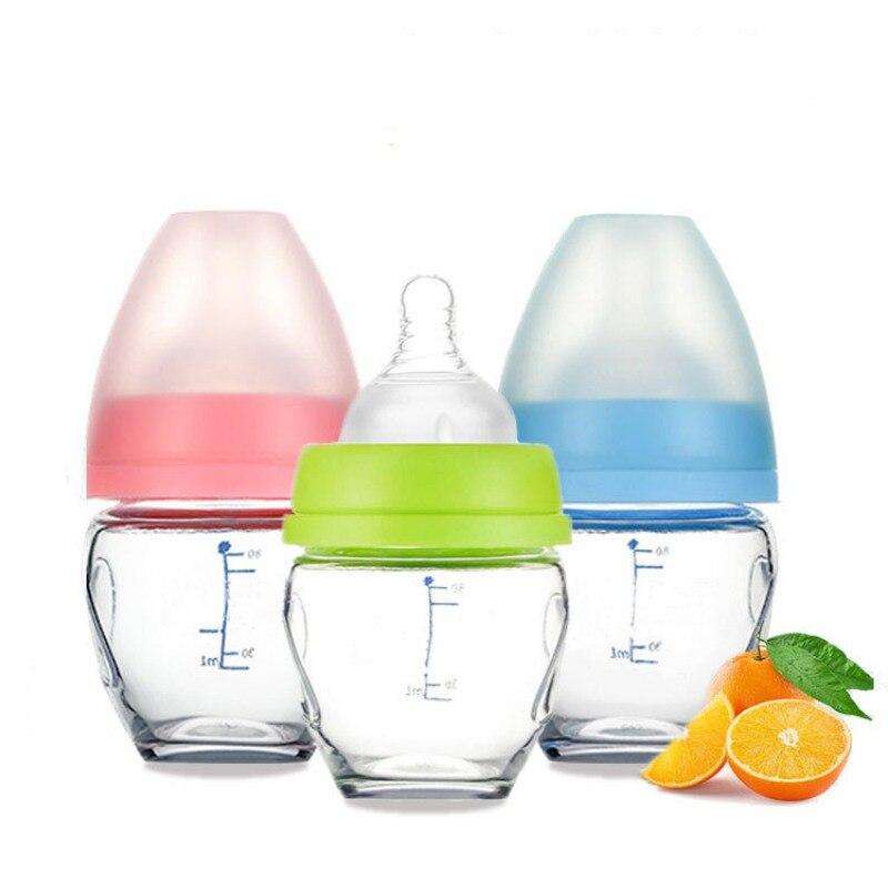 Baby Breastmilk Feeding Glass Milk Bottle Newborn Kids Water Drinks Bottle 80ml