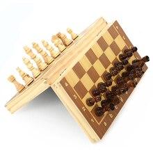 Wood Chess Wood Folding Magnetics Log Chess Wooden Folding Chess Set Game Chess Board Festival Children Gift