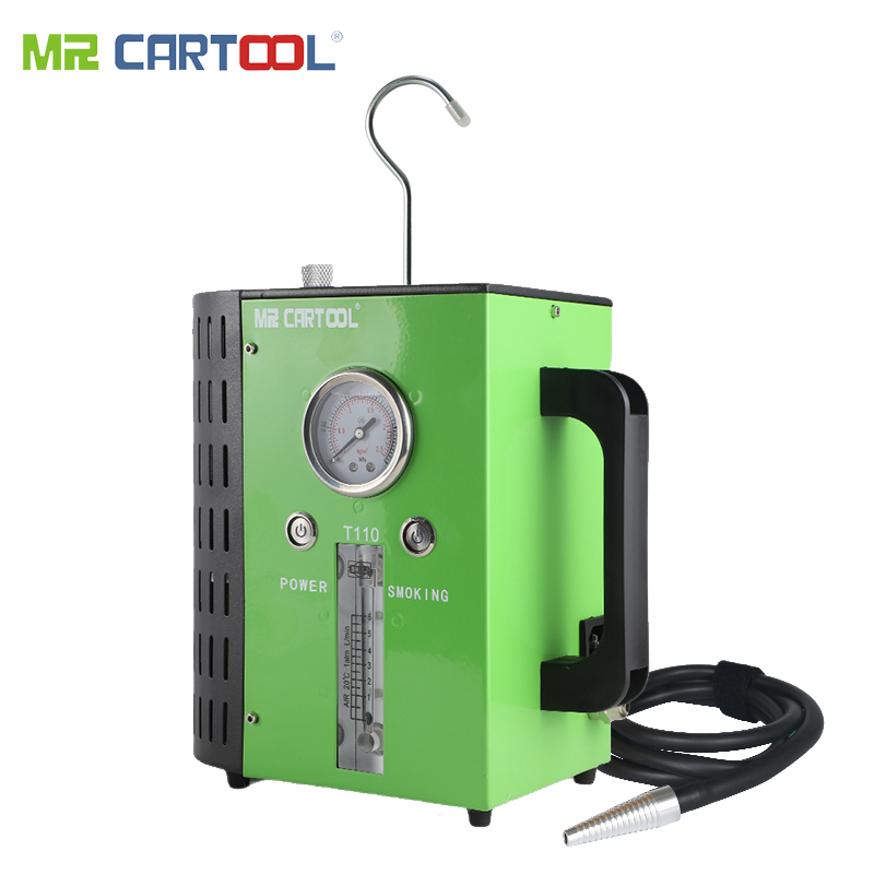 Mr cartool 2019 nova atualização t110 máquinas de fumaça do carro para o carro universal 12 v dc detectores de vazamento de tubulação auto ferramenta de diagnóstico