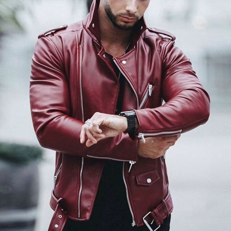 US $35.43 23% OFF|vogue Nice Plus Size Leather Jackets Men Autumn Long Sleeve Stand Collar Jackets Winter Zipper Patchwork Faux Leather Coats|Faux Leather Coats| |  - AliExpress