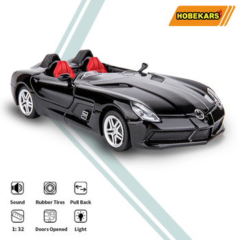 HOBEKARS 1:32 Diecasts & Toy Vehicles Metal Alloy Simulation Model Convertible Sport Car Sound And Light Pull Back Car Toys 1 32 toy car simulation alloy catapult chariot three in one children sound and light pull back toy racing car ornaments model