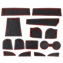 Per Porta Scanalatura Anti-Sporco Stuoie Supporto di Tazza Fodere 14Pcs per Mazda CX-3 Kit Completo, Rosso Trim(China)