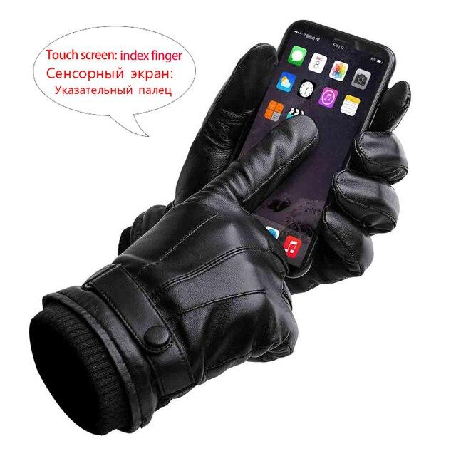 BISON DENIM Men Genuine Sheepskin Leather Gloves Autumn Winter Warm Touch Screen Full Finger Black Gloves High Quality S019 2
