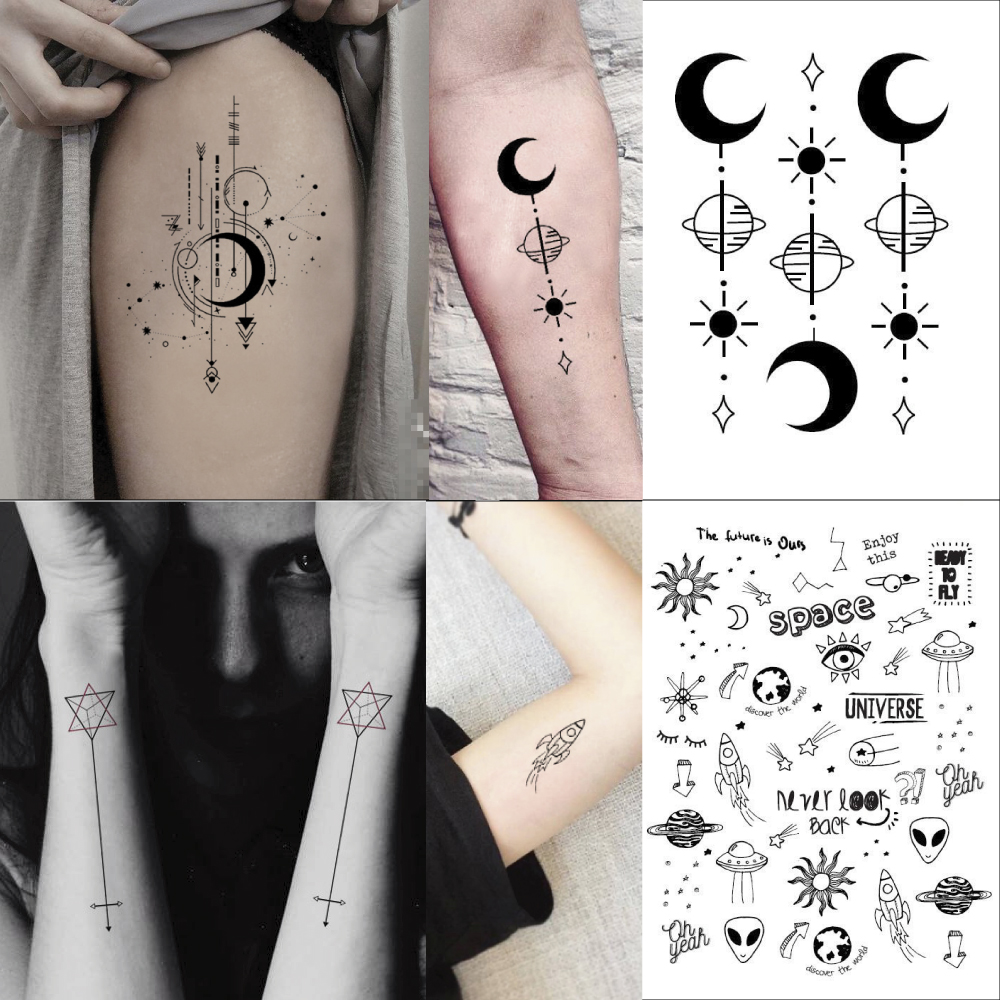Waterproof Temporary Fake Tattoo Stickers Classic Planet Arrow Geometric Large Design Body Art Make Up Tools
