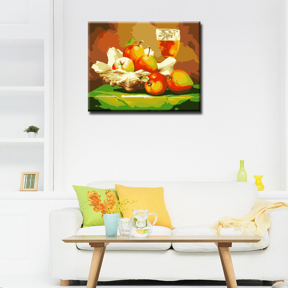 WEEN Apple Fruit Juice DIY Painting By Numbers Kit Acrylic Paint Wall Art Picture Hand Painted Oil Canvas Painting 40x50cm in Painting Calligraphy from Home Garden