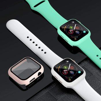 Szkło + Case + pasek na pasek do Apple Watch 44mm 40mm 38mm 42mm 40 44mm silikonowy zegarek smartwatch bransoletka iWatch 3 4 5 6 se pasek tanie i dobre opinie Lerxiuer CN (pochodzenie) 22cm Paski do zegarków Nowość bez znaczków for applewatch aplle i watch series 6 5 4 3 2 1 40 38 44 42 mm
