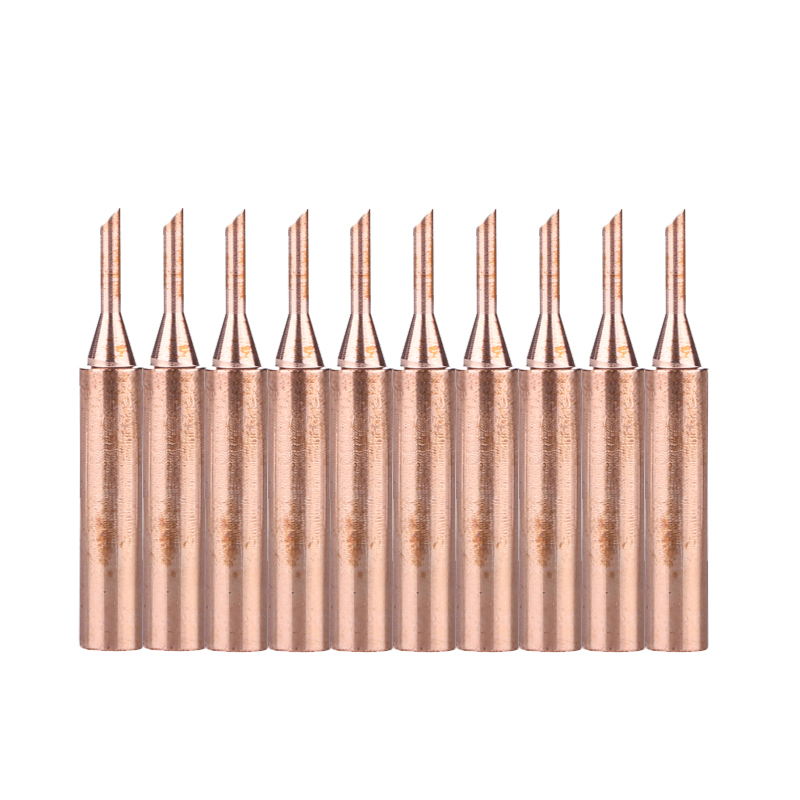 10PCS/Set 900M-T-2C Pure Copper Metal Solder Iron Tips Lead-Free Replacement Soldering Head For Hakko 936 Welding Repair Tool