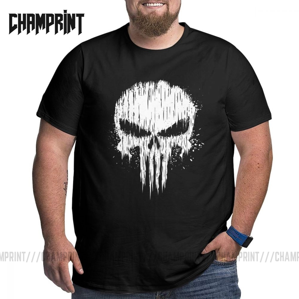 Para bellum punisher t camisa masculina grande & alto algodão topos vintage plus size grande tamanho crewneck camisetas camisetas 5xl 6xl