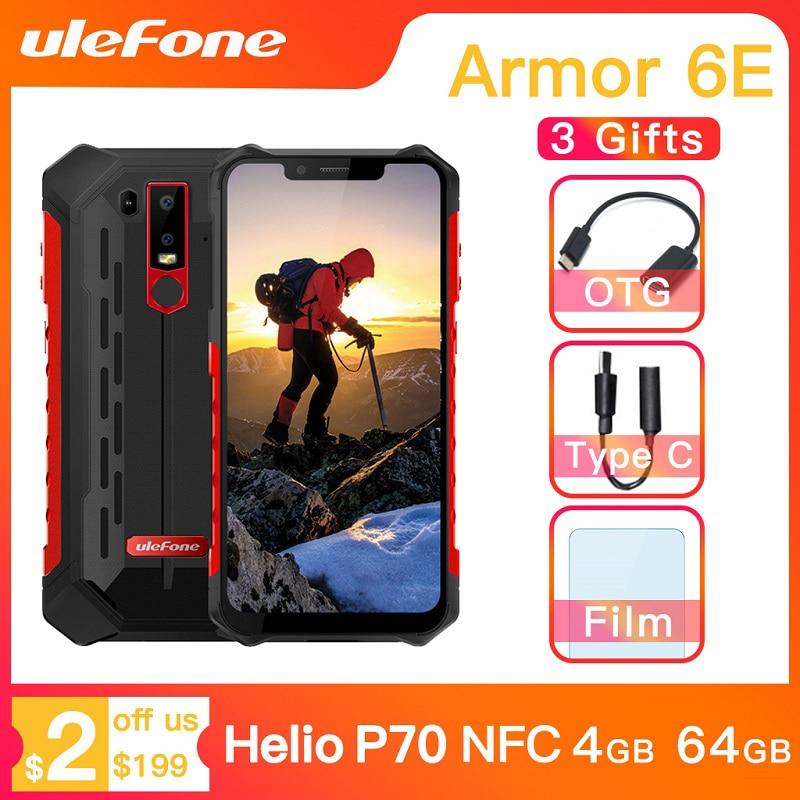 Ulefone Armor 6E Waterproof IP68 NFC Rugged Mobile Phone Helio P70 Otca-core Android 9.0 4GB+64GB wireless charge Smartphone