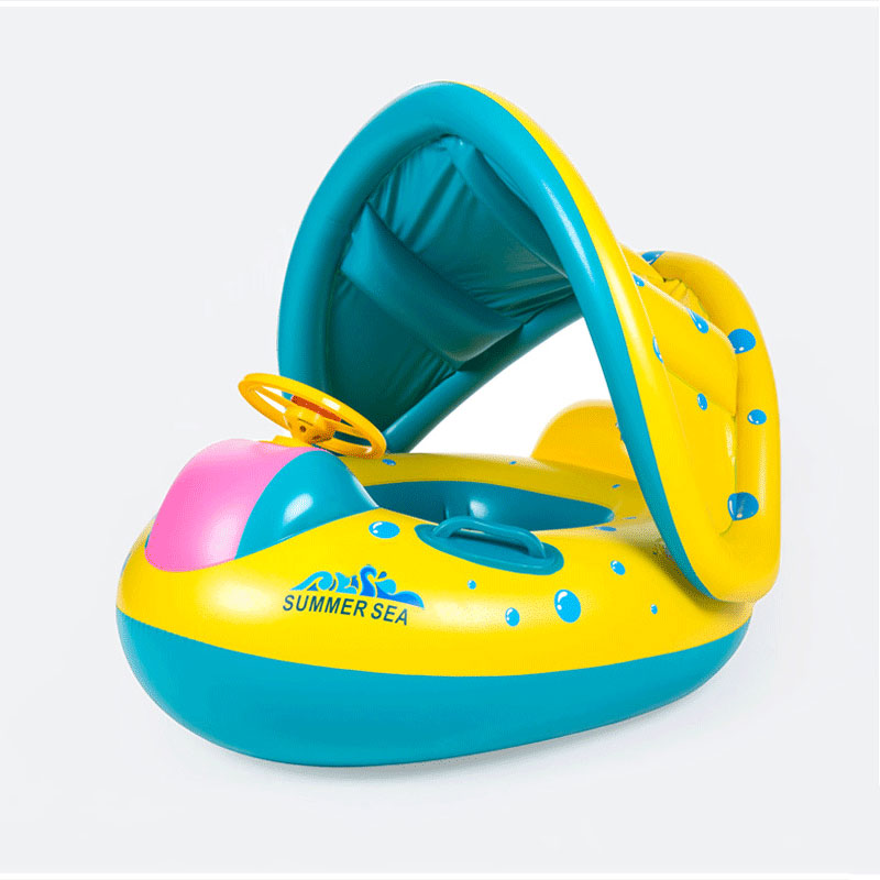 Baby Inflatable Swimming Ring Cartoon Baby Float With Safe Seat Boat Sun Awning Water Sports Toys Baby Accessories Circle Buoy