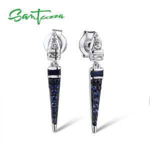 Женские серебряные серьги SANTUZZA, элегантные серьги-гвоздики из серебра 925 пробы с синими камнями, ювелирные украшения