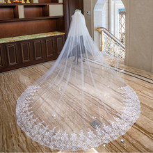 Stunning 3 Meters Long Wedding Veils Cathedral Length Appliques 3D Flower Bridal Vail with Comb Crystal Wedding Accessories(China)