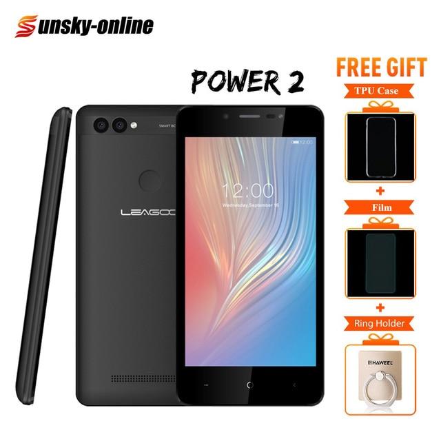 "Leagoo Power 2 5.0"" HD Smartphone Android 8.1 RAM 2GB ROM 16GM Dual SIM GSM WCDMA Fingerprint Face Unlock Quad Core Mobile Phone"