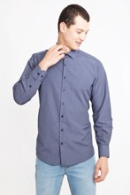 Kigili Shirts Menswear Navy Blue Long Sleeve Plaid Button Down Shirt High Quality Classic Fit Spread Collar Made in Turkey