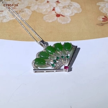 CYNSFJA Real Certified Natural Hetian Jade Jasper Inlaid 925 Sterling Silver Handmade Amulets Jade Pendant Green Fine Jewelry High Quality Best Gifts uglyless s 925 sterling silver handmade women ethnic tassels earrings noble natural jasper balls brincos green jade fine bijoux