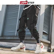 LAPPSTER erkekler şeritler Streetwear kargo pantolon 2020 sonbahar Hip Hop Joggers pantolon tulum siyah moda Baggy cepler pantolon
