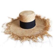 Весна лето флоппи рафия пляжная шляпа с бахромой соломенные шляпы широкими полями шляпа от солнца двойной козырек шапки черная полоса шляпы с плоским верхом