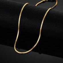 Чокеры золотого цвета для мужчин и женщин, маленькая цепочка на шею в стиле бохо, ожерелье-чокер 2 мм, женское ювелирное изделие для кулона