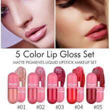 5 Colors Lip Gloss Set Capsule Velvet Matte Lipstick Set Non-stick Cup Color Developing Portable Liquid Lipstick