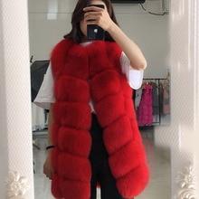 MLHXFUR Red 70cm Long Grid Fox Fur Vest Genuine Real