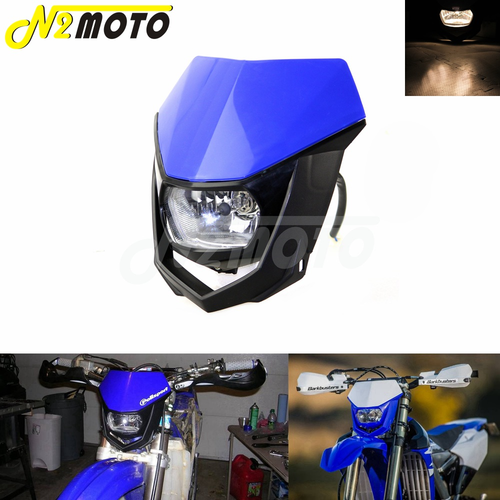 Motorcycles Dirt Bike Dual Sport Enduro Motocross Headlight Fairing for Yamaha YZ XT WR TTR TT Blue Headlamp 12V 35W