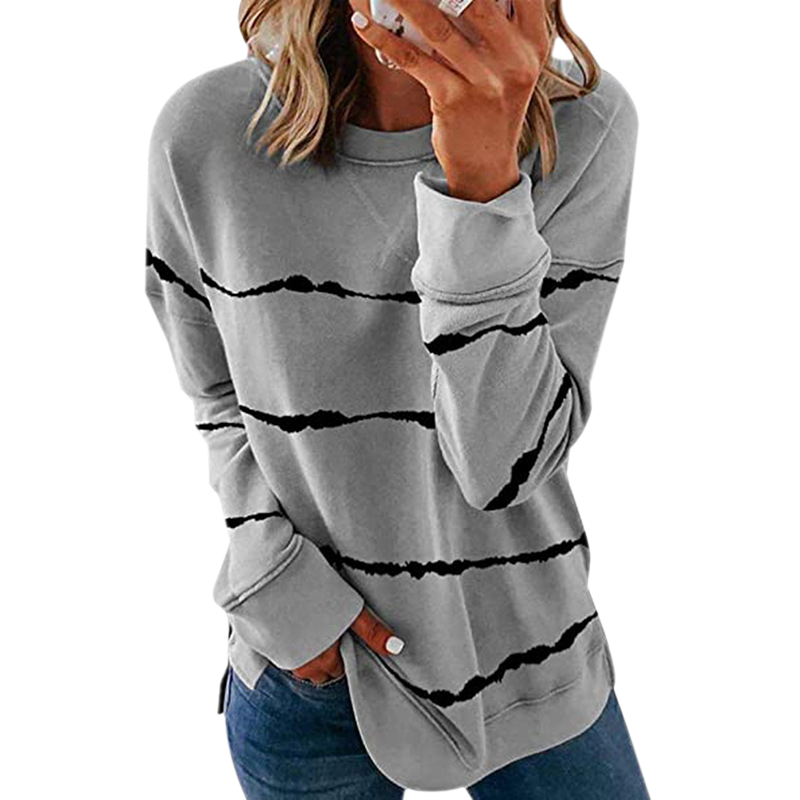 Striped Print Long Sleeve Black Hoodies Women 2020 Big Size 5XL Casual Tee Black Autumn Top O-Neck Loose Sport Ladies Hoodies 8