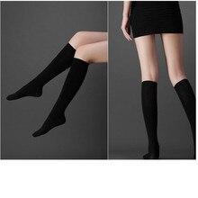 Сексуальные женские гольфы до бедра, высокие чулки, непрозрачные теплые японские школьные черные полосатые длинные носки горячая распродажа из хлопка