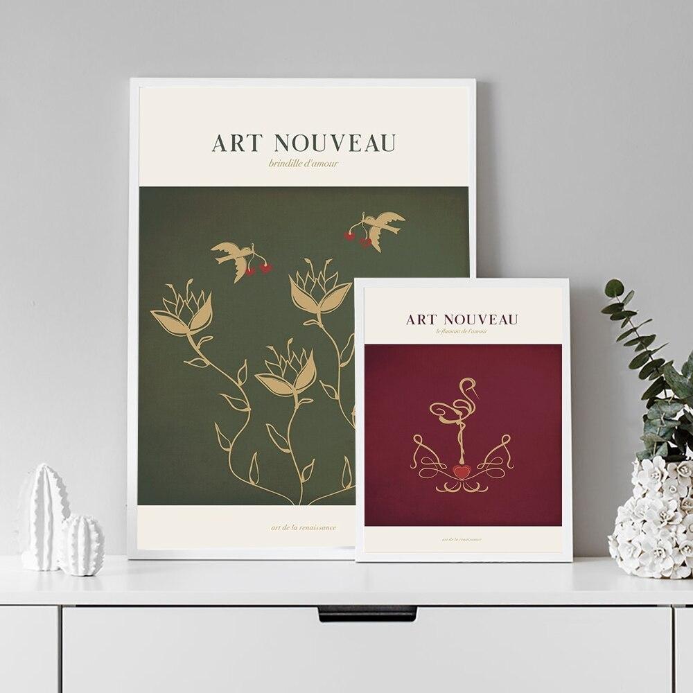 Affiche murale en toile de flamant rose, Art Nouveau, peinture animale moderne, décoration nordique doiseaux, image pour décor de chambre à coucher