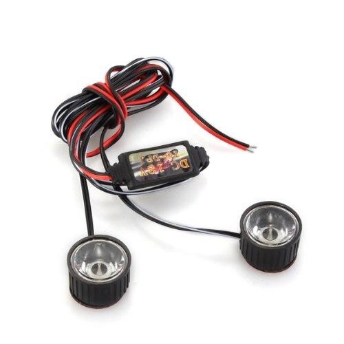 White 2 LED Flashlight Strobe Warning Light Strobe Light Brake 3W