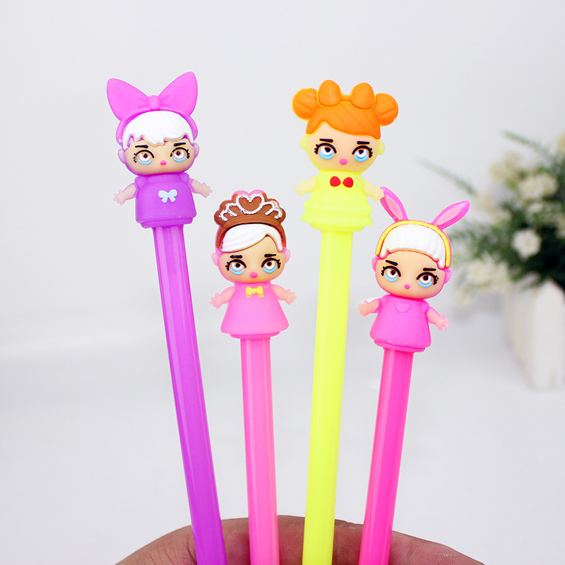 36pc/lot Cute Girl Doll Gel Ink Pen/creative Cartoon Student Office Water Pen / Signature Pen/children Gift