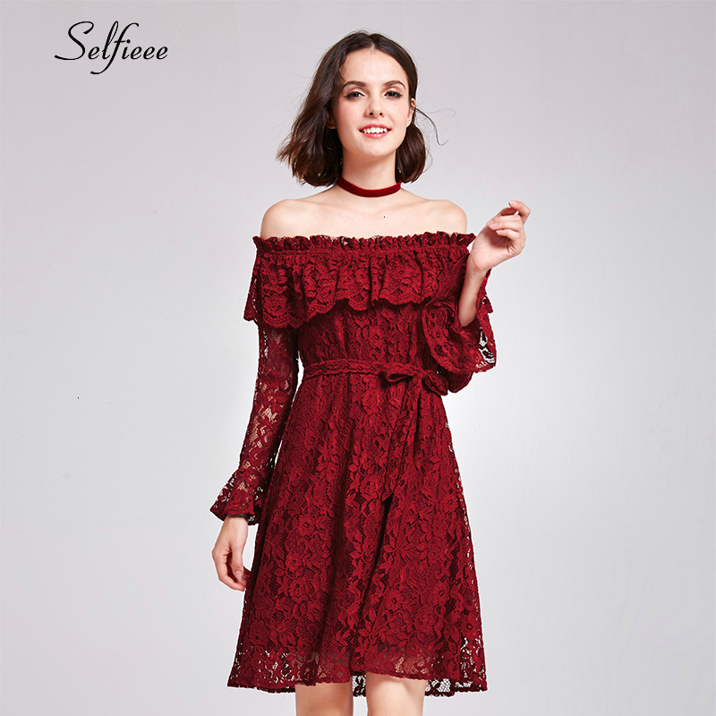 Short Burgundy Caual Dress A-Line Ruffles Off The Shoulder Hollow Out Ladies Elegant Lace Party Robe Femme 2019